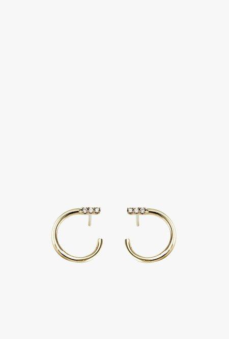 Lumo Pave Slip On Stud Earrings - 14k Gold/Diamond