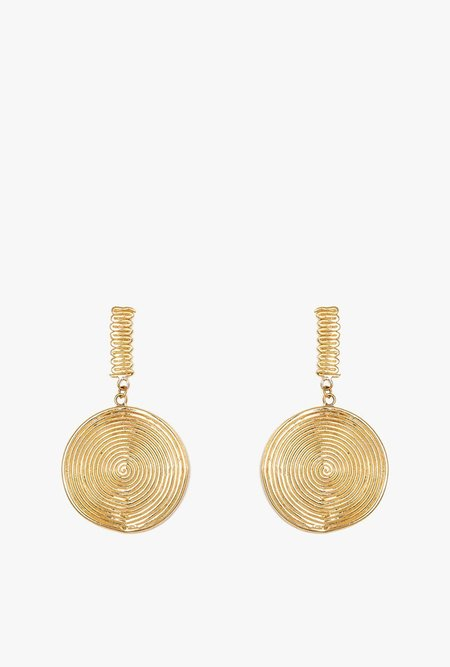 I Like It Here Club Spiral Jetty Drop Earrings - BRASS