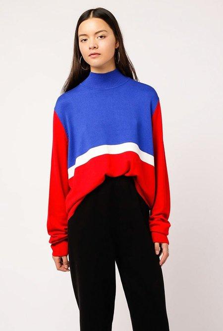 AGAIN Collin Top - RED/BLUE
