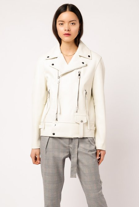 Frankie Estrella Leather Moto Jacket - WHITE