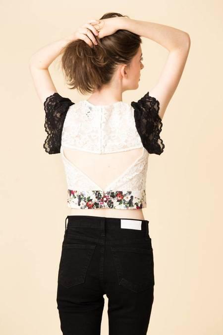 Marissa Webb Imani Print & Lace Top