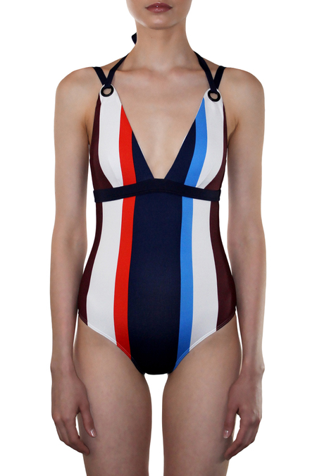 MEI L'ANGE MYA GROMMET STRAP STRIPED MAILLOT - MULTICOLOR