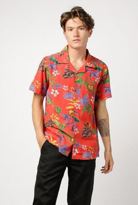 RAGA MAN SS Camp Collar Hawaiian Button-Down - RED