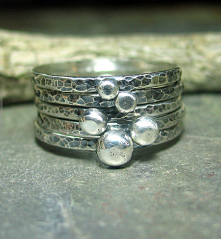 Lavender Cottage Stacking Pebble Rings - Silver