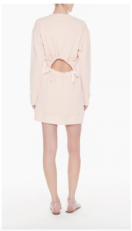 Tibi Open Back Sweatshirt Dress - Blush