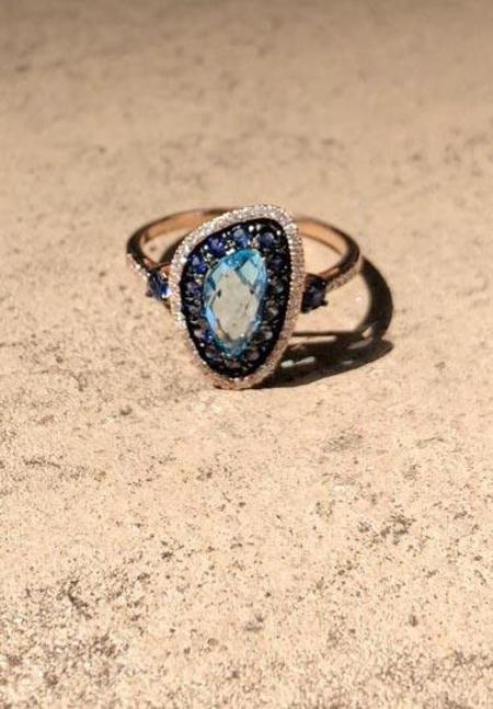Pratiksha Blue Topaz And Sapphire Portal Ring - Rose Gold
