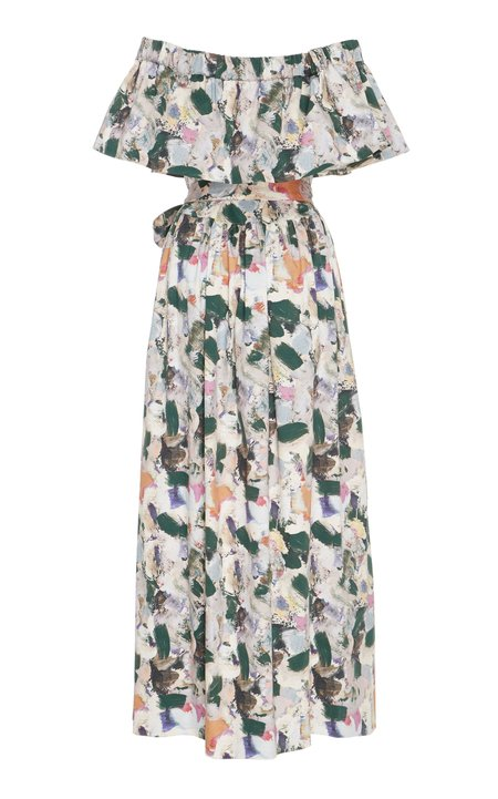 Christine Alcalay Off the shoulder Paint Print Dress