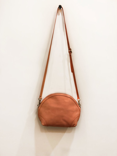 You Must Create Leather Half Circle Bag - Coral