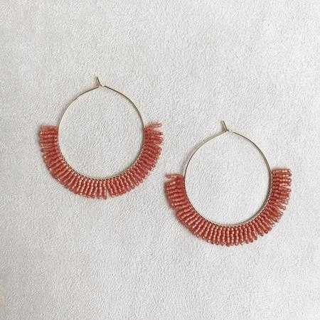 Betty Alida Beaded Hoop Earrings - Orange