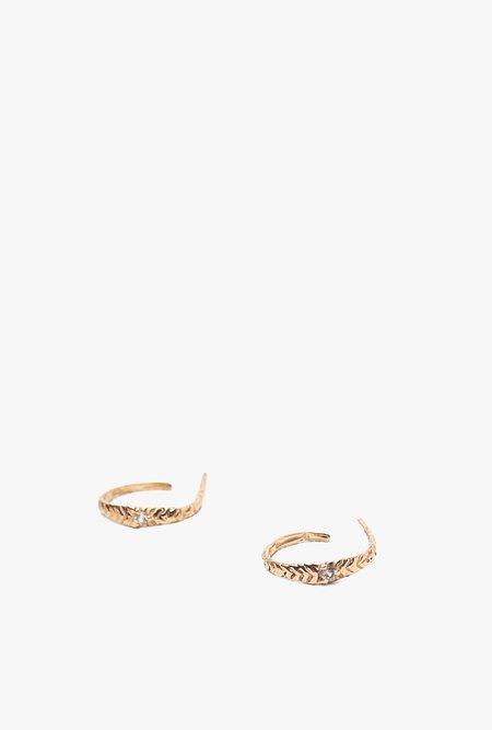 Valley Rose Studio Mojave Hoop Earrings - GOLD/SAPPHIRE