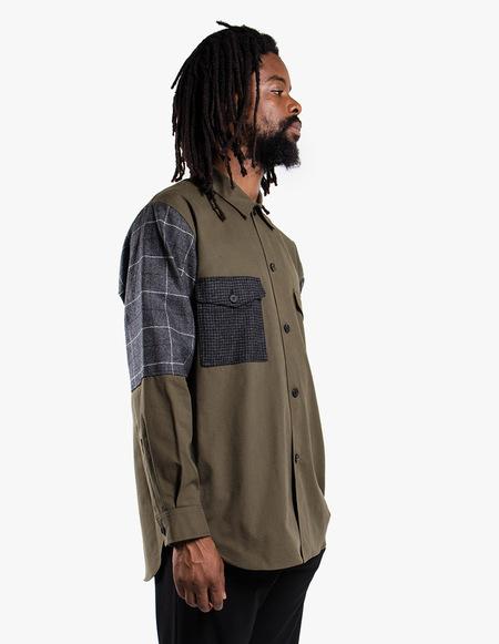 McQ Alexander McQueen Patchwork Flannel Shirt - Military Khaki