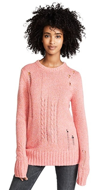 Raquel Allegra Crew Neck Sweater - Pink Fleck