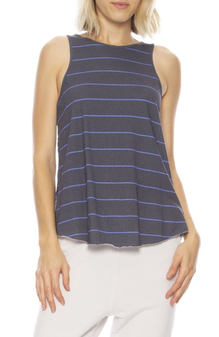 Frank & Eileen Striped High Neck Tank - Royal Stripe