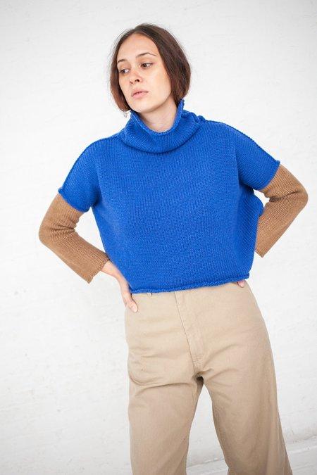 AVN Color Block Sweater - Blue/Camel
