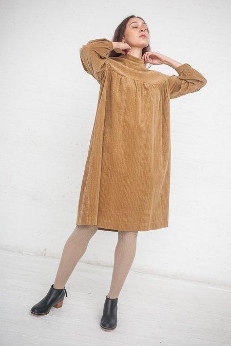 AVN Corduroy Empire Waist Dress - Beige