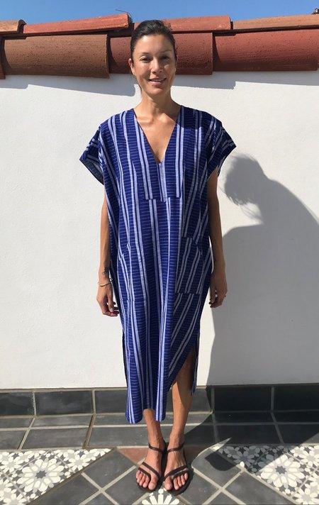 Two New York Ikat Bib Caftan - Mediterranean Blue with white stripe