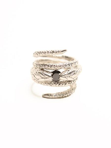 We Who Prey Infinity Snake Ring - SILVER/ONYX