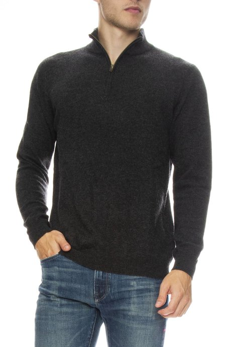 TODAY IS BEAUTIFUL / RON HERMAN Cashmere Sweater with Zip Mock Neck - Pepper