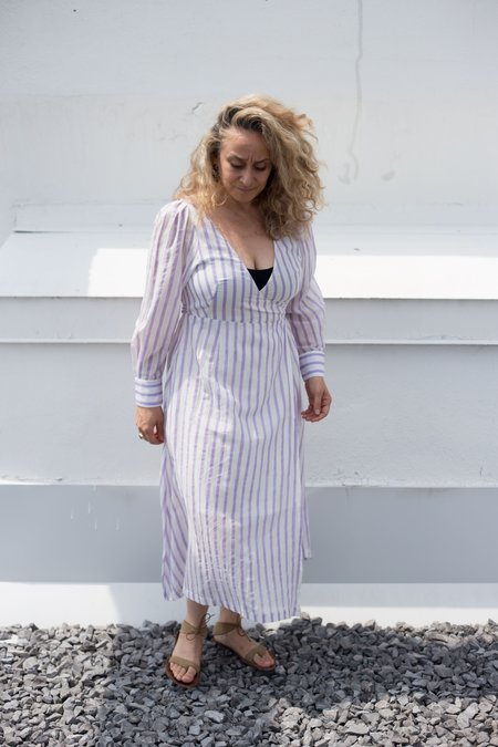 Maggie Jayne Wrap Dress - Lilac Stripes