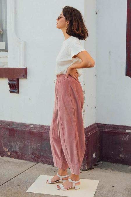 Bassike Long Rise Cord Pant - Muted Pink