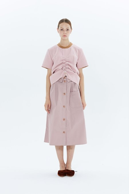 Steven Tai Shirt Collar Skirt - Dusty Pink