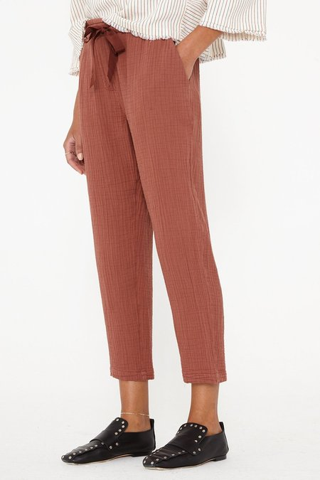 Raquel Allegra Textured Gauze and Grosgrain Ribbon Slim Pant - Terracotta