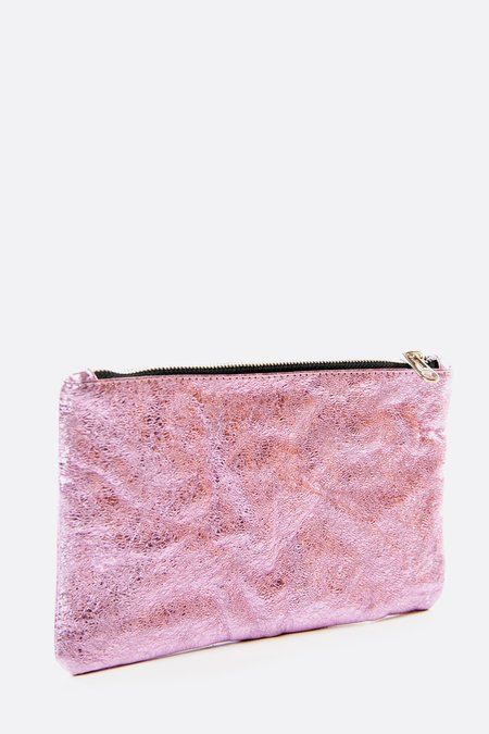 Zilla Large Candy Metallic Pouch - Pinky Lavender