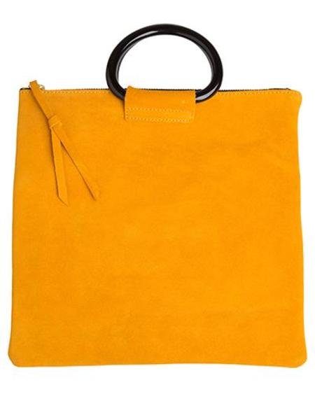 Oliveve jolie clutch with resin handles - marigold suede leather