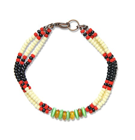 Fortune Goods Montagnard Bead Bracelet - Black/Cream/Jade