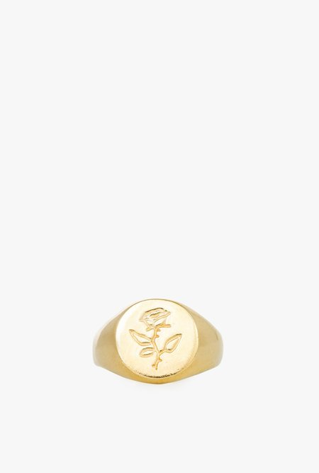 Wolf Circus Rose Signet Ring - 14k Gold Plated