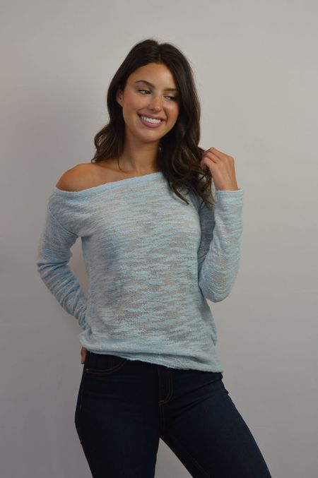 White + Warren Off The Shoulder Pullover - Blue