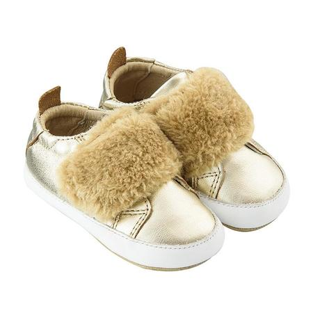 Kids Old Soles Baby Bambini Pet Shoes - Gold With Natural Fur