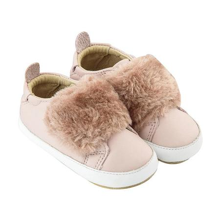 KIDS Old Soles Baby Bambini Pet Shoes - Powder Pink With Dusty Pink Fur
