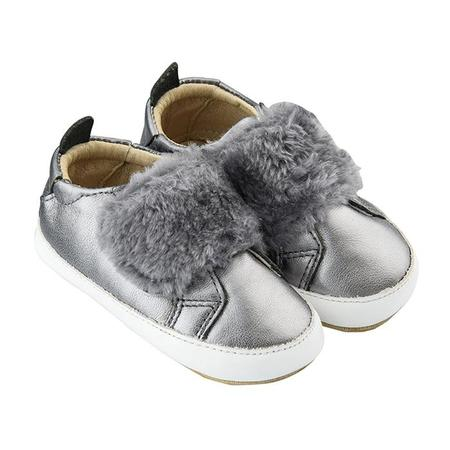 Kids Old Soles Baby Bambini Pet Shoes - Rich Silver With Dark Grey Fur