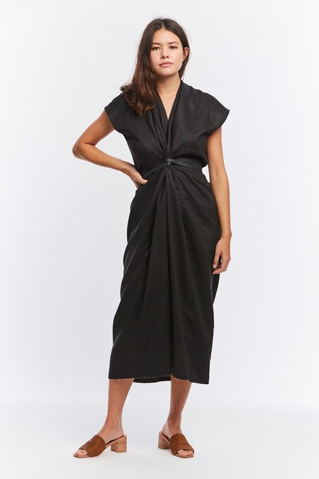 Miranda Bennett Linen Knot Dress - BLACK