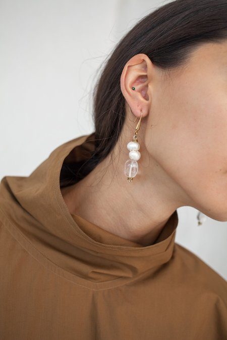 Atelier Inscrire Rock Quartz and Natural Pearl Earrings