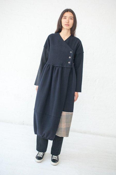 Hache Wrap Dress - BLACK/PLAID