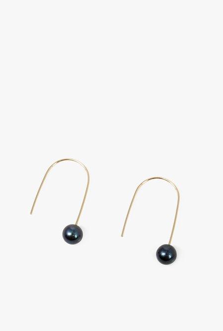 Honey & Bloom Black Pearl Drop Earrings - 14k Gold