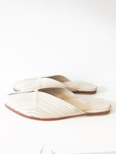 at Dawn. Leather Slides - Cream