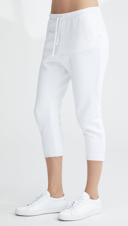 Tee Lab Lab607 CROPPED SWEATPANT WITH RAW HEM - Whiteout