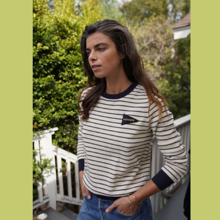 Birds of Paradis CLAIRE CREWNECK SWEATER - White/Navy Stripe