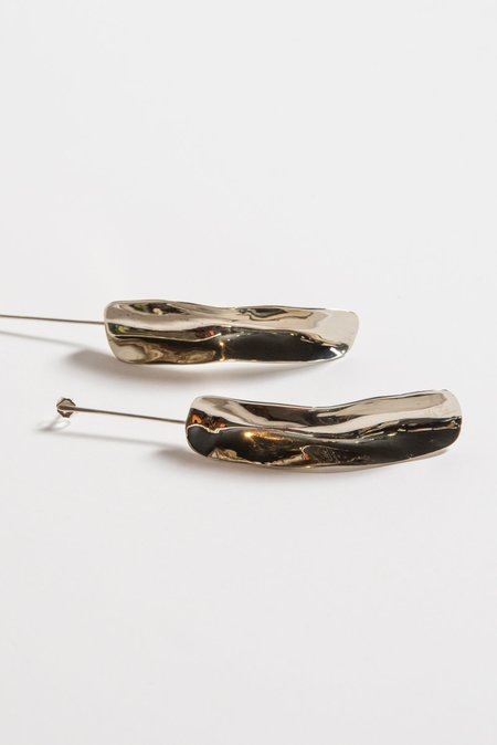 Samma Long Shape On Silver Stick Earrings
