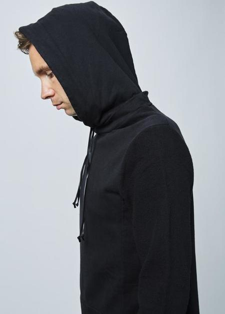 Hannes Roether Hoody Reverse Sleeve Sweater - Black