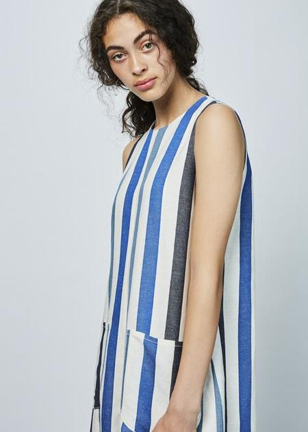 AVN Sleeveless Linen Blend Jumpsuit - blue stripes