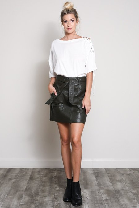 Wishlist With The Band Vegan Leather Skirt - Olive