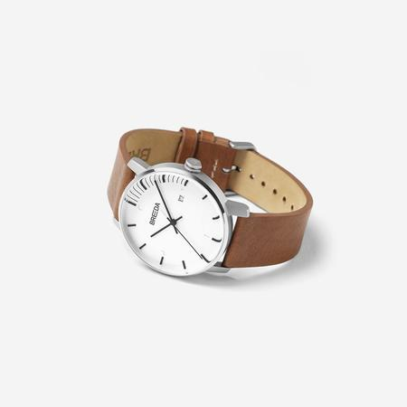 Breda Phase Watch - Silver/Brown