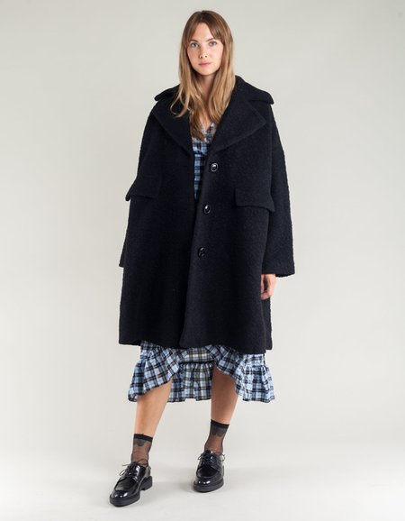 Ganni Fenn Oversized Coat - Black