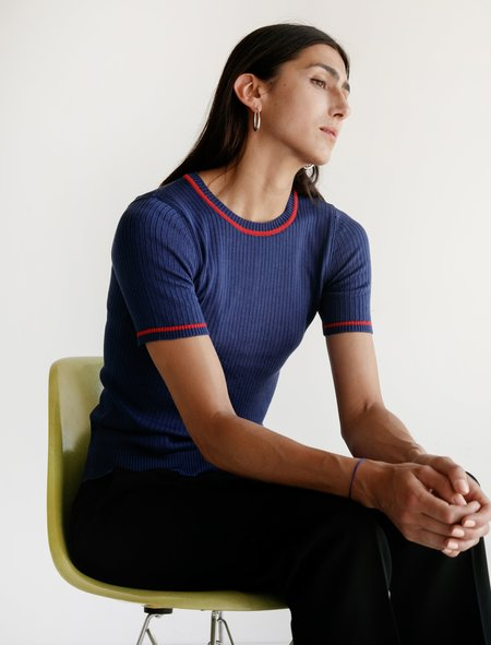 Une Heures Short Sleeve Crew Neck Sweater - Stripe Marine And Rouge