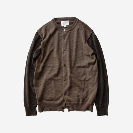 Still By Hand Crew Neck Wool Knit Cardigan - Brown