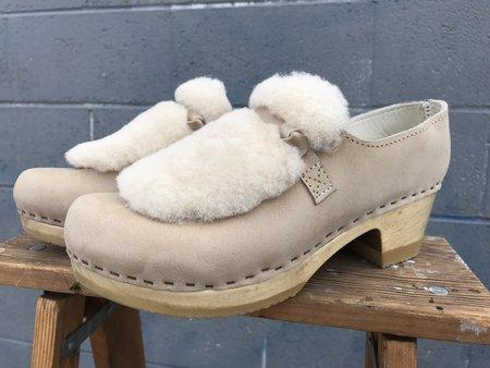 No.6 Fur Loafer Clog on Mid Heel - Bone Bone / Brown Base